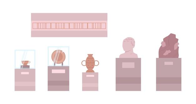 Collectie van geschiedenis archeologie museum vertoont vector illustratie geïsoleerd