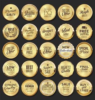 Collectie van gouden badges en etiketten retro-stijl
