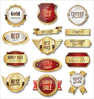 Collectie van gouden badges en labels retro stijl