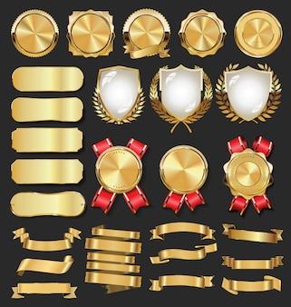 Collectie van gouden badges etiketten lauweren schild en metalen platen