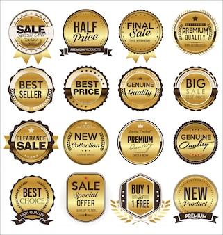 Collectie van gouden platte etiketten retro-stijl