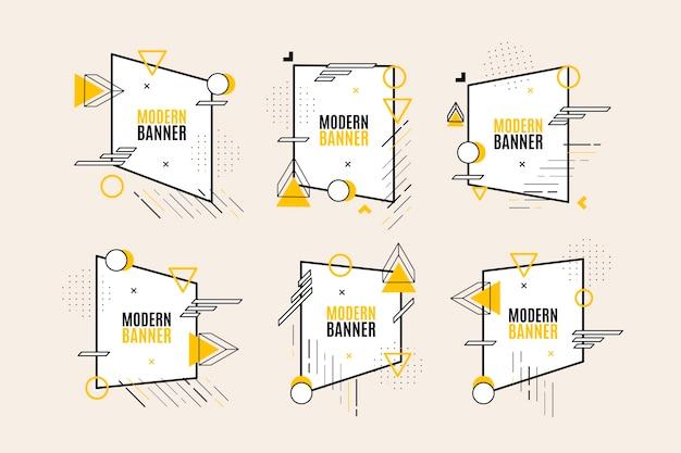 Collectie van grafisch ontwerp etiketten in geometrische stijl