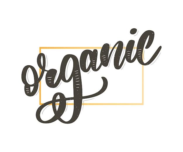 Collectie van groene gezonde organische natuurlijke eco bio food products belettering kalligrafie