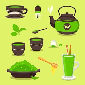 Collectie van groene matcha thee