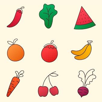 Collectie van groenten en fruit