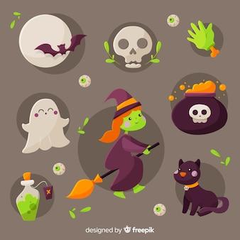 Collectie van halloween-element op platte ontwerp