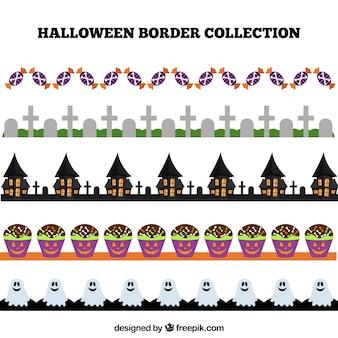 Collectie van halloween grenzen in plat ontwerp