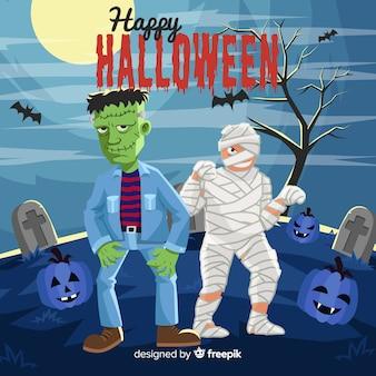 Collectie van halloween-kaart met platte ontwerp