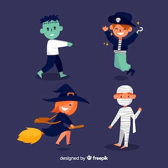 Collectie van halloween karakter plat ontwerp