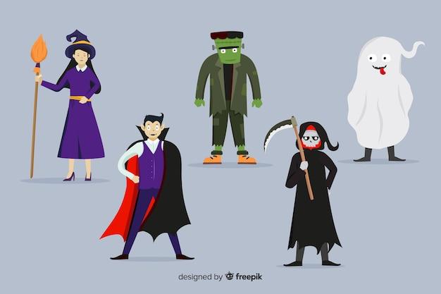 Collectie van halloween karakters plat ontwerp