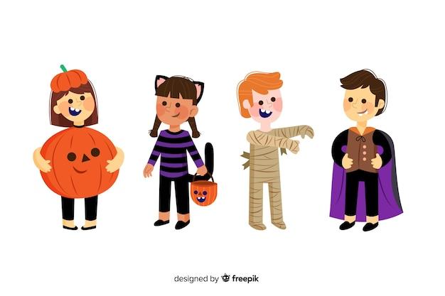 Collectie van halloween kind op platte ontwerp
