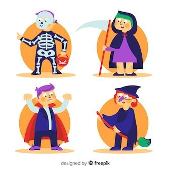 Collectie van halloween kinderen in kostuums