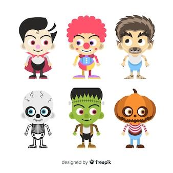 Collectie van halloween kinderen plat ontwerp