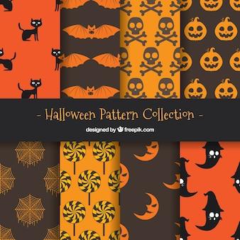 Collectie van halloween patroon met elementen