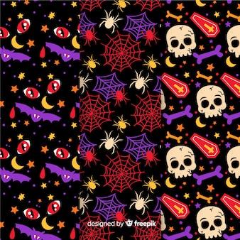 Collectie van halloween patroon met platte ontwerp