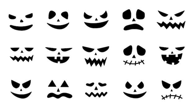 Collectie van halloween pompoen gezichten pictogrammen. enge gezichten geest. griezelige pompoenglimlach jack o lanter of bange vampier. ontwerp voor de vakantie halloween. vector illustratie.