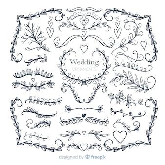 Collectie van hand getrokken bruiloft sieraad