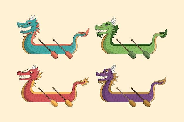 Collectie van hand getrokken drakenboot