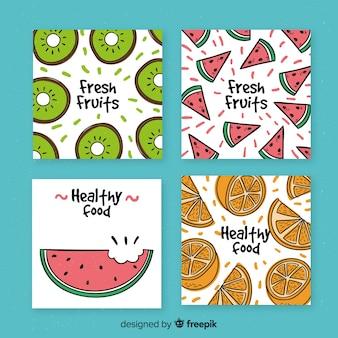 Collectie van hand getrokken fruitkaarten