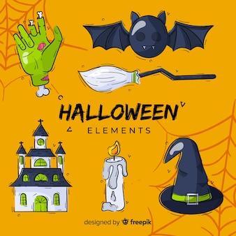 Collectie van hand getrokken halloween-element