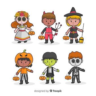 Collectie van hand getrokken halloween kind