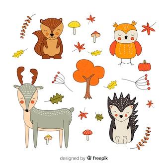 Collectie van hand getrokken herfst dieren