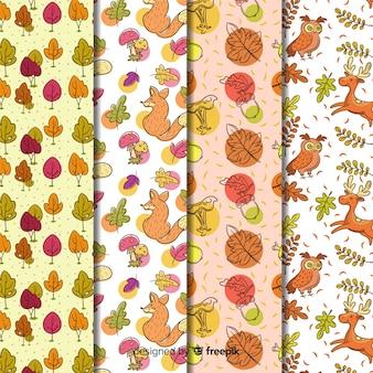 Collectie van hand getrokken herfst patroon