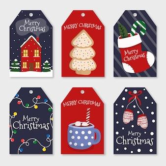 Collectie van hand getrokken kerst badge