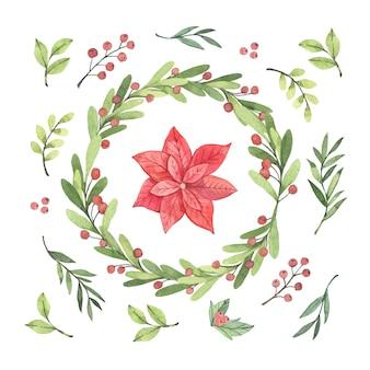 Collectie van hand getrokken kerst bloem & krans