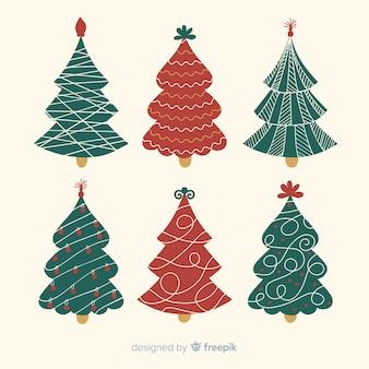 Collectie van hand getrokken kerstboom