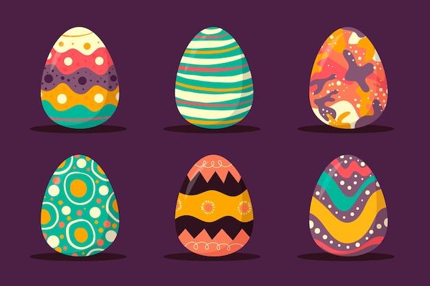 Collectie van hand getrokken paasdag eieren