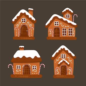 Collectie van hand getrokken peperkoek huis