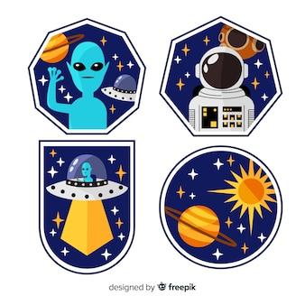 Collectie van hand getrokken ruimtestickers