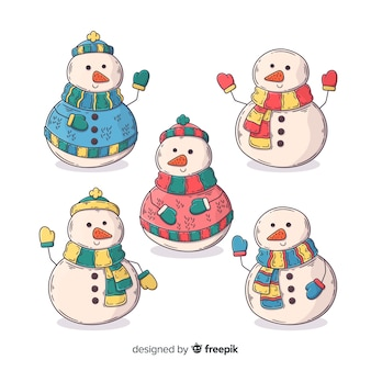 Collectie van hand getrokken sneeuwpop karakter