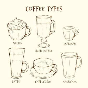 Collectie van hand getrokken soorten koffie