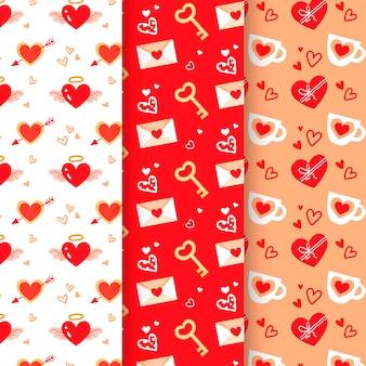 Collectie van hand getrokken valentijnsdag patroon