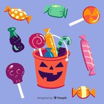 Collectie van hand getrokken van halloween snoepjes