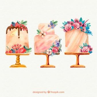 Collectie van hand getrokken verjaardagstaarten