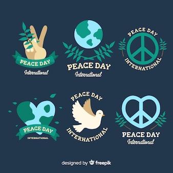 Collectie van hand getrokken vredesdag etiketten