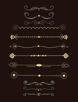 Collectie van handgetekende randen. unieke wervelingen en scheidingslijnen voor uw ontwerp. vector label, lint, symbool, ornament, frames en scroll-elementen.