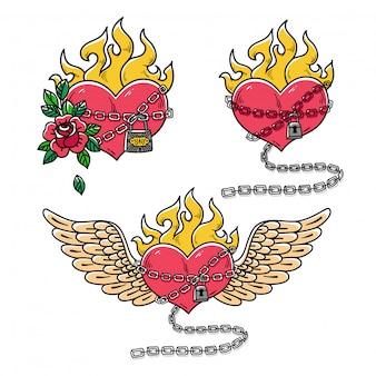 Collectie van harten in kettingen van liefde. vlammend hart. rood brandend hart met vleugels. old school stijl.