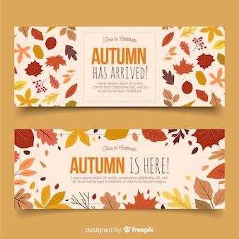 Collectie van herfst banner hand getrokken stijl