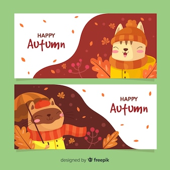 Collectie van herfst banner vlakke stijl