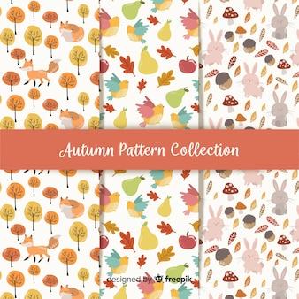 Collectie van herfst patronen platte ontwerp