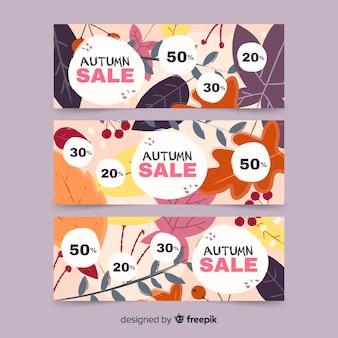 Collectie van herfst verkoop banner hand getrokken ontwerp