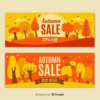 Collectie van herfst verkoop banner plat ontwerp
