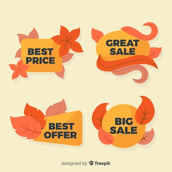 Collectie van herfst verkoop labels