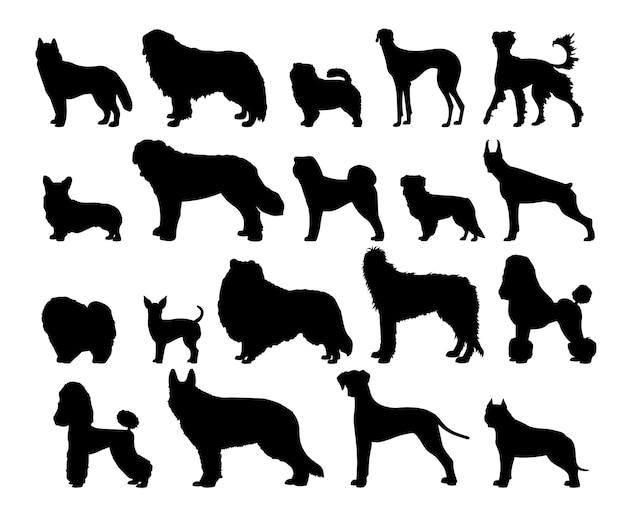 Collectie van hondensilhouetten