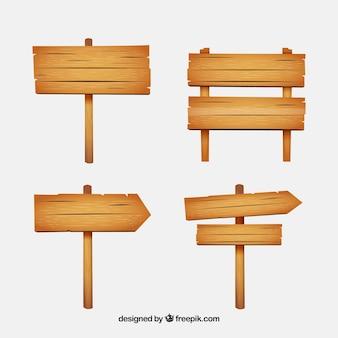 Collectie van houten bord