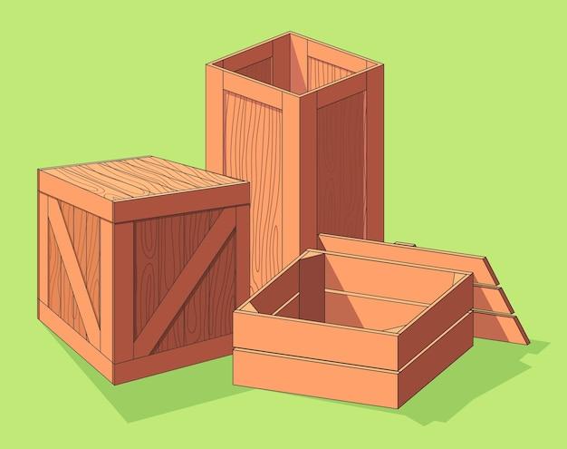 Collectie van houten kist isometrisch